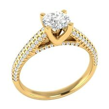 1.00 ct Natural White Topaz & Authentic Diamond Yellow Gold Engagement Ring