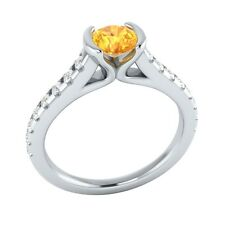0.80 ct Real Yellow Citrine & Authentic Diamond Solid White Gold Engagement Ring