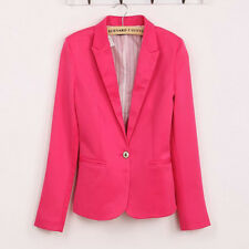 Women Ladies Fashion Candy Color Slim One Button Blazer Coat Tops Outerwear New