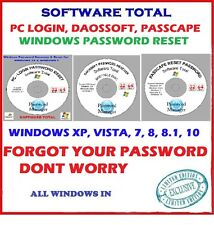 WINDOWS PASSWORD RESET PC-LOGIN, DAOSSOFT, PASSCAPE ~ ALL WINDOWS XP, 7, 8.1, 10