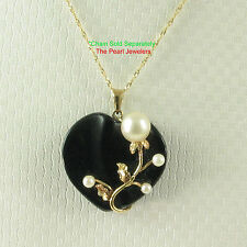 TPJ Beautiful 14k Yellow Solid Gold, Cultured Pearl Black Onyx Pendant Necklace