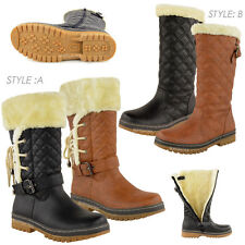 New LADIES BOOTS FLAT CALF KNEE HIGH QUILTED FUR LINED WINTER SNOW SHOES WOMENS
