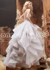 Ball Gown Organza white/ivory wedding dress custom size 2-4-6-8-10-12-14-16+