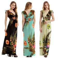 Plus Size Womens Summer Boho Maxi Long Dress V-neck Beach Evening Party Sundress