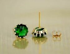 14k Solid Yellow Gold 6mm Round Birthstone Stud Earrings with Push Back
