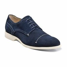 Stacy Adams Mens Navy Blue Suede Wilcox Cap Lace Up Dress Formal Oxford Shoe
