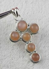 925 Sterling Silver Natural Peach Moonstone Gemstone Party Wear Women Pendant