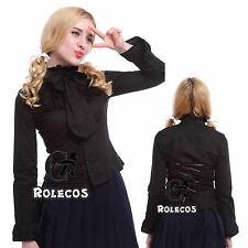 Women Victoria Gothic Lolita Black Blouse Long Sleeve Lace Shirt Cosplay Costume