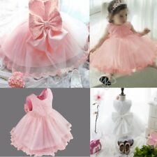 Flower Girl Toddler Kid Baby Princess Pageant Wedding Party Tulle Tutu Bow Dress
