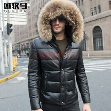 New Fashion Mens Real Leather Fur Hooded Winter Down Coat Casual Jacket Size 5XL