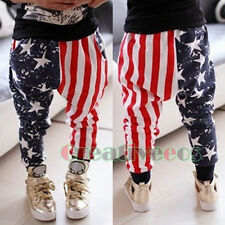 Kids Boy Girl Stars Striped Flag Harem Trousers Toddlers Pants Costume 2-7 Years