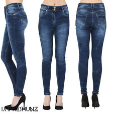 Womens Ladies Sexy High Waist Skinny Jeans Blue Stretch Denim Size 6 10 12 14 16
