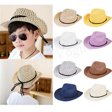 Summer Kids Children Girl Boys Unisex Bead Holow Out Straw Cowboy Cap Sun Hat  X