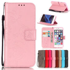 Embossed Floral Card Holder Leather Strap Wallet TPU Case Stand Cover For Phones