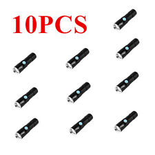 10PC 2000LM Q5 LED Tactical Rechargeable USB Flashlight Torch Zoom Adjustable F7