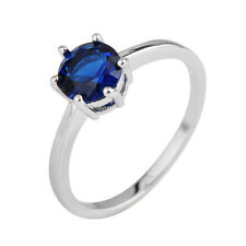 Round Cut Blue Sapphire Band Womens 10KT White Gold Filled Wedding Ring Size 7-9