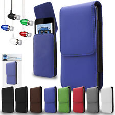 PU Leather Vertical Belt Case And Aluminium Headphones For Motorola MOTO MT870