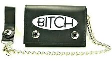 "Bitch Bikers Leather Chain Wallet Tri Fold Punk Goth Skater Sprots 12"" Chain"