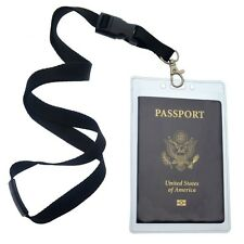 2 Pack - Clear Tear Resistant Passport Holders with Lanyards by Specialist ID