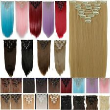 Real 8PCS Clip In Hair Extensions Piece Hair Extention Human Straight Curly Fs5