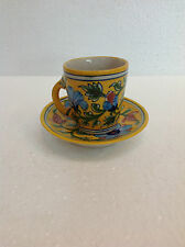Vintage Blue Pottery Hand Painted Set Cup&Saucer Snake Plate