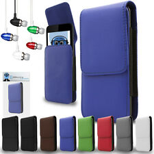 PU Leather Vertical Belt Case And Aluminium Headphones For HTC WildFire G8