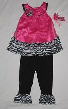 NWT Toddler Girls ANGEL FACE Pink Zebra Shirt Leggings Spring Summer Outfit - 4T