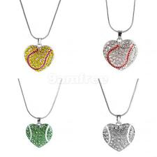 Girl Fashion Rhinestone Softball/Baseball Heart Pendant Chain Necklace Jewelry