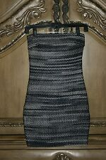 NWT 2b bebe STRAPLESS RAVE NIGHTS SWEATER DRESS Mini Tube Black White Gray Ombre