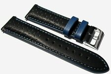 Italian Leather black / blue rally watch strap. Lined + buckle. 18, 20 & 22mm