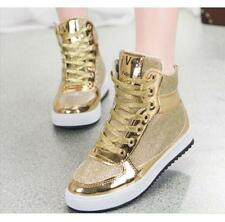 Womens metallic  Sequins High-top  Sneakers Lace Up Running Jogging SPort Shoes
