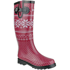 Cotswold Ladies Fairisle Patterened Buckle Welly Wellington Boot Red