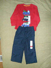 Jumping Beans sets Long Sleeve/Pull on Lined Pants Sizes 2T 3T Green/blue/Ivory
