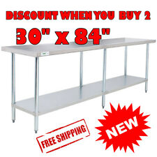 "30"" x 84"" Stainless Steel Commercial Work Table with Galvanized Legs Undershelf"