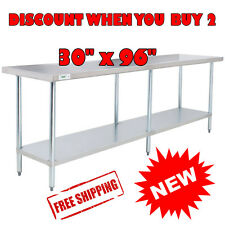 "30"" x 96"" Stainless Steel Commercial Work Table with Galvanized Legs Undershelf"
