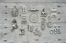 14pc Baking / Cooking Charm Set Lot Collection / Silver / Bake, Cook, Chef,Mixer