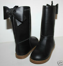 baby Gap NWT Girl's 6 7 Faux Leather Black Riding Boots w/ Bow at Back