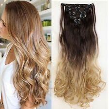 100% Natural Lady Full Head Clip In Hair Extensions 8 Piece 18clips for human f6