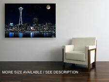 Canvas Print Picture Seattle Night Cityscape / Stretched- wrapped ready to hang
