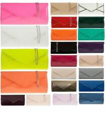 NEW PATENT NEON COLOURS METAL CHAIN EVENING PARTY LADIES CLUTCH HAND BAG