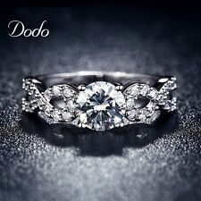 Fashion Wedding Rings For Women White Gold Plated Classic Vintage Romantic Party