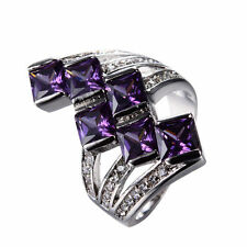 Purple Amethyst Zircon Band Women's 10K White Gold Filled Wedding Ring Size 7-10