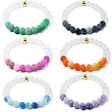 8mm Multicolor Natural Stone Agate Gemstone Round Beads Stretchy Bangle Bracelet