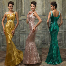 SEQUINS Maxi Long Formal Evening Gown Ball Party Cocktail Prom Bridesmaid Dress