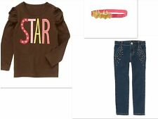 GYMBOREE STAR OF THE SHOW STAR TOP  JEANS &  HEADBAND OUTFIT  NWT  SIZE 5