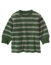 NWT Gymboree Grizzly Lake Green Gray Striped Thermal Tee Shirt Size 3-6 M