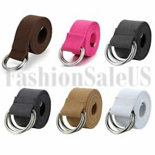 Men's Women's Plain Casual Canvas Web Belt with Double D Ring Metal Buckle New