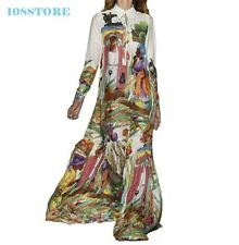MAXI DRESS LONG SLEEVE RETRO WOMEN STYLE BOHEMIAN SUMMER FASHION RUNWAY ART SIZE