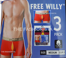 6,12 X MENS BOXER SHORT FREE WILLY DESIGNER COTTON LYCRA UNDERWEAR BRIEF S-XL