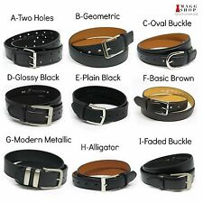 Mens Classic Fashion Casual Black or Brown Dress Genuine Leather Belt w/ Buckle